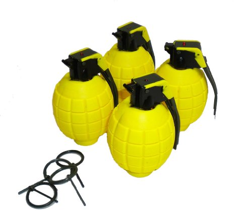 Lot of 4 Kids Toy B/o Cool Yellow Grenades for Pretend Play