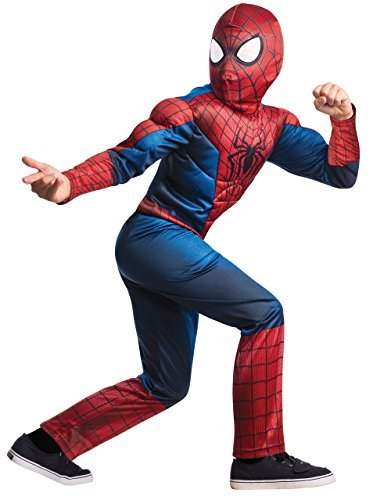 Spiderman 2 Costume, Kids Deluxe Movie Outfit, Large, Age 8 - 10 years, HEIGHT 4' 8 - 5' 0 by Spider-Man