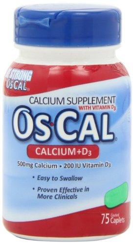 Os-Cal 500 Mg Calcium Plus Vitamin D-3 - 75 Caplets (Pack Of 3)