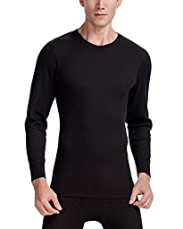 CYZ Men\'s Thermal Long Sleeve Crew Top-Black-S