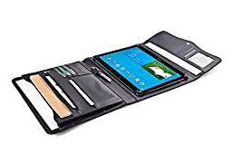 Executive Organizer Padfolio with Flap Snap Closure, for Samsung Galaxy Note Pro 12.2 and Documents,Black
