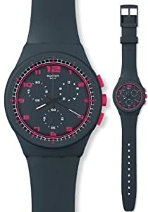 Swatch Originals A Touch of Fuschia Chronograph Charcoal Silicone Unisex Watch SUSA400