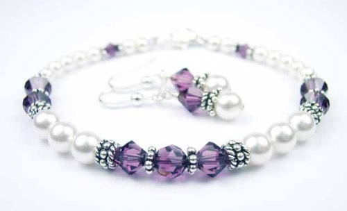 Amethyst Swarovski Crystal Beaded Pearl Bracelets - LARGE 8 In.