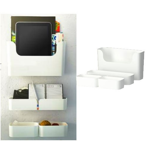 Makeup table organizer ikea pluggis 7 piece organizer containers set with wall mount rails white - Ikea container home ...
