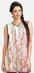 Snoogg White Flowers Printed Womens Casual Short Kurti