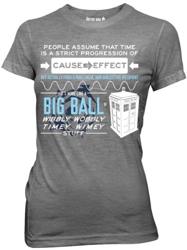 Doctor Who Wibbly Wobbly Quote Junior Gray Heather T-shirt, Small