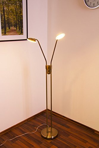 LED Piantana in Metallo OTTONE Lampada a Stelo con 2 PUNTI LUCE Dimmer