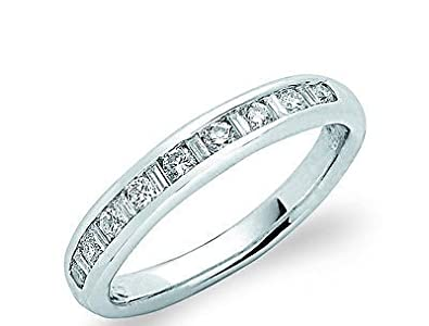 J R Jewellery 405092 18ct White Gold Round & Baguette Cut Diamond Eternity Ring 0.33CTW