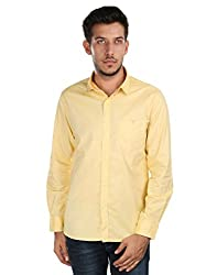 Oxemberg Men's Solid Casual 100% Cotton Yellow Shirt
