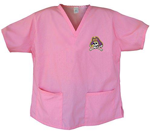 Ecu Logo Pink Scrubs Tops Shirt -Size Med East Carolina University Pirates Ladie front-917351