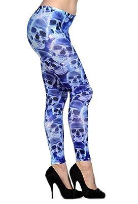 Banned Alternative Wear UK Blue and Purple Skull Leggings