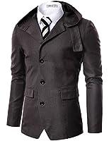 Doublju Mens 3 Button Hood Jacket