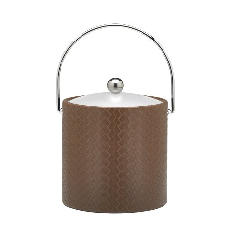 Kraftware Ice Bucket With Bale Handle And Lucite Lid, Brown - 3 Quart