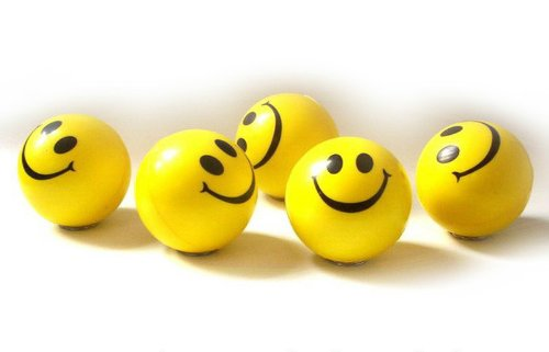 Dazzling Toys Happy Smile Face Stress Ball 1.5 inch balls - Pack of 24 - Neon Smile Face Relaxable Squeeze Balls in Yellow Color
