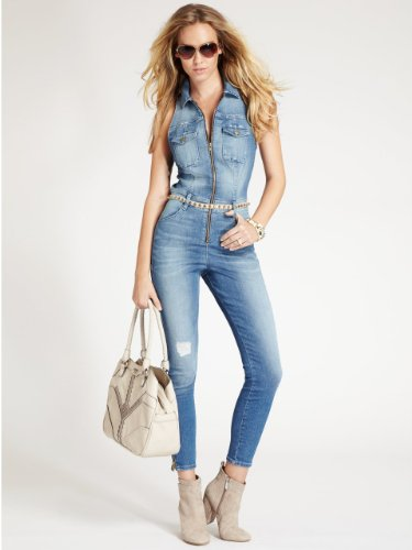 Innovative Denim Jumpsuit 2015 Fashion Women Denim Bodysuit Rompers Womens