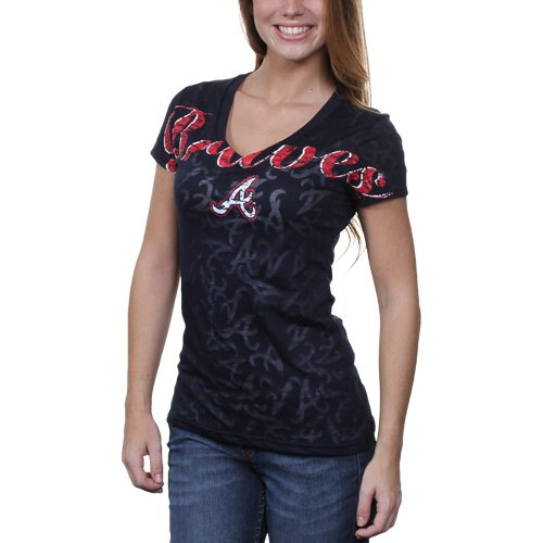 MLB Atlanta Braves Ladies Burnout Logo V-Neck T-Shirt - Navy Blue (Large)