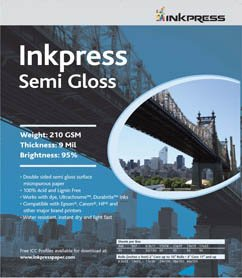 "Inkpress Duo Semi Gloss, Double Sided Luster Surface Inkjet Paper, 180gsm, 9.0 mil., 5x7"", 50 Sheets"