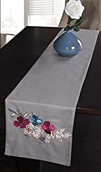 Jovi Home Navio Hand-Embroidered Table Runner, 13-Inch by 71-Inch, Grey