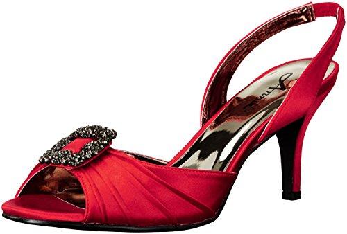 Annie Shoes Women's Lara Wide Calf Dress Sandal, Red, 7.5 W US