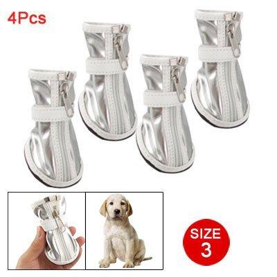 Hund Größe 3 Antirutsch Gummi Boden Silberfarben Weiß Stiefel Kunstleder de