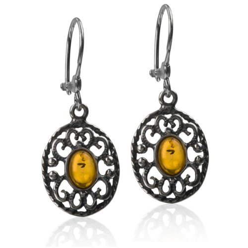 Baltic Amber Silver Lace Oval Dangle Earrings