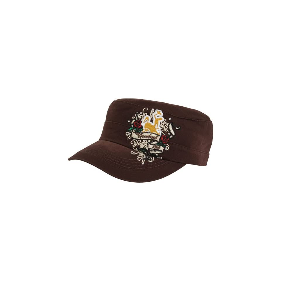 Top Of The World Wyoming Cowboys Ladies Brown Eve Adjustable Military Style Hat