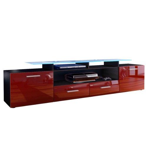 Tablette meuble tv bas armoire basse almada v2 en noir for Meuble tv haut noir