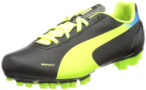 Puma Unisex-Child evoSPEED 4.2 AG Jr Football Shoes Black Schwarz (black-fluo yellow-brilliant blue 01) Size: 35.5
