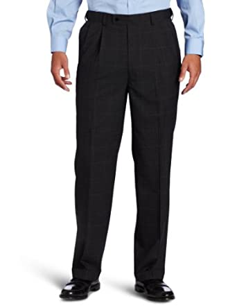 Louis Raphael Men's Total Comfort Wool Classic Plaid Pleated Dress Pant, Charocal, 30x30