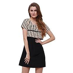 Oshea Women's Crepe Polyester Short Sleeve Dress (Black-Brown)