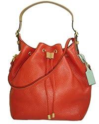 Coach Soft Pebbled Leather Drawstring Shoulder Bag 25306 Vermillion