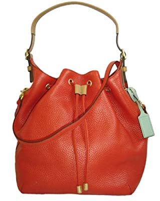 Coach Soft Pebbled Leather Drawstring Shoulder Bag 25306 Vermillion