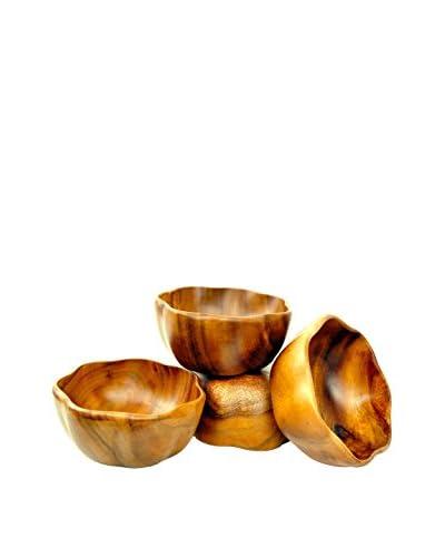 Pacific Merchants Acaciaware Set of 4 Round Flared Bowls