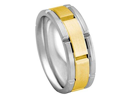 Men's 2TONE 18K WHITE YELLOW GOLD ROLEX INSPIRED 8mm COMFORT FIT WEDDING BAND men s 18k yellow gold rolex inspired 8 5mm comfort fit wedding band