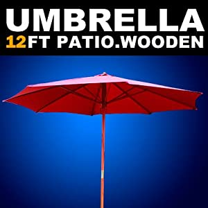 New Deluxe Patio Garden 12' Outdoor Patio Wooden Umbrella with Air Vent 13'