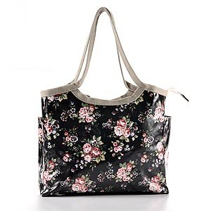 New Oilcloth Black Rose Flower Bucket Shopper bag handbag waterproofing