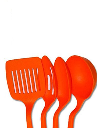 Kitchen Spatula Cooking Bakeware Tool Nylon Slotted Spatula Turner Spoons Utensils Set Kitchenware 11inch Long 1 Set of 4 Pcs Random Color (Rachel Ray Stove Top Grill compare prices)