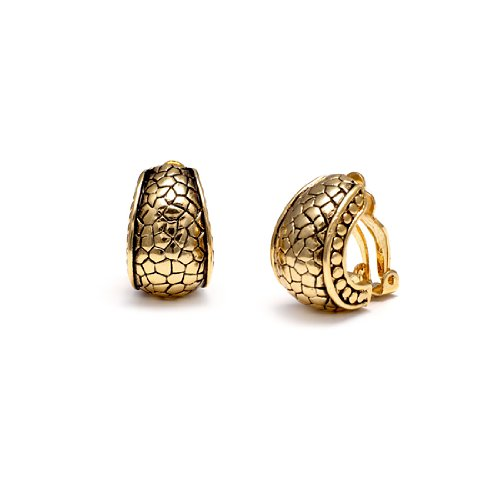 Rodney Holman Gold Plated Clip On Half Hoop Earrings with Reptile Effect