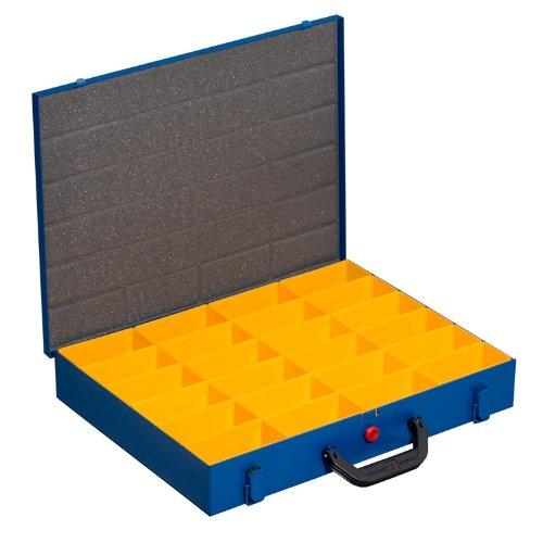 Kleinteilekoffer, Stahlblech, EuroPlus Metall 44/24x63, blau, 24 Einsätze, dicht schließend
