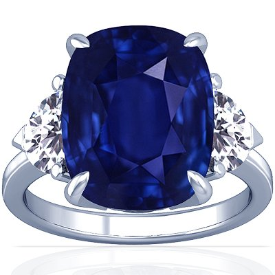 Platinum Cushion Cut Blue Sapphire Three Stone Ring