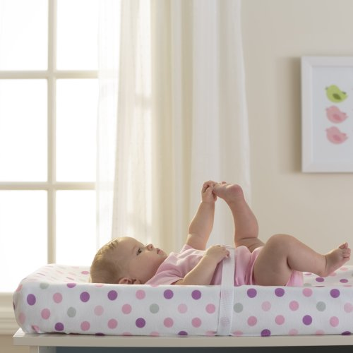Breathable Baby Pink Mist Dot Changing Pad Cover Picture