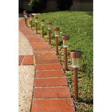 10 Piece Stainless Steel Solar Light Set