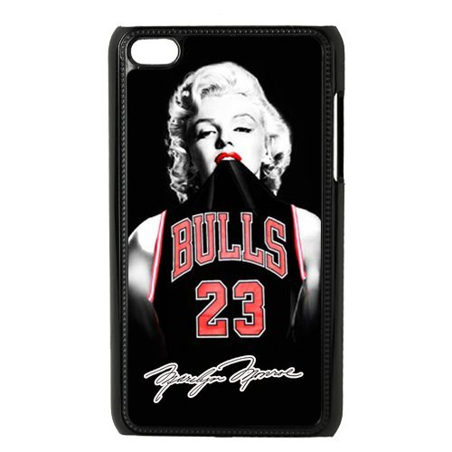 Custom sexy Marilyn Monroe with nba Chicago Bulls Michael Jordan jerseys black plastic Case for IPod Touch 4th at luckeverything store at Amazon.com