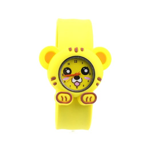 BestOfferBuy Cute Cartoon Animal Tiger Silicone Children Boy Girl Slap Band Watch Yellow