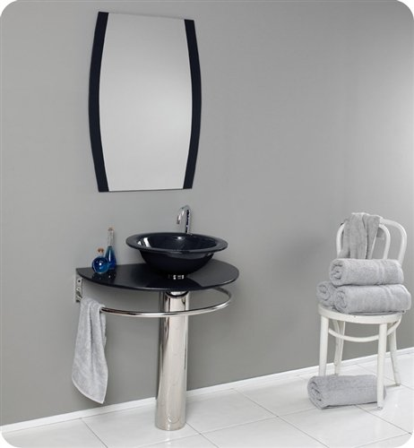 Fresca Scoperto Modern Black/Dark Purple Glass Bathroom Vanity w/ Mirror