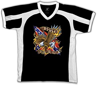 The South Will Rise Again Mens Sports T-shirt, Confederate Flag and Bald Eagle Sport Shirt, Small, Black/White