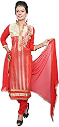 Raahi Unstitched Red Cotton Embroidered Dress Material - Salwar Suit