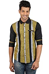 Le Tailor Men's Slim Fit Casual Stripes Shirt ( SLCFS106,Black & Yellow,XL )