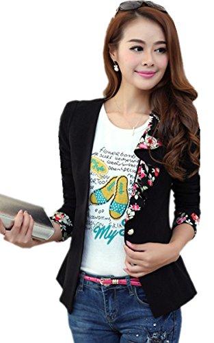 FINEJO Women's New Fashion Zip Up Faux Leather Moto Jacket with Hoodie B XL