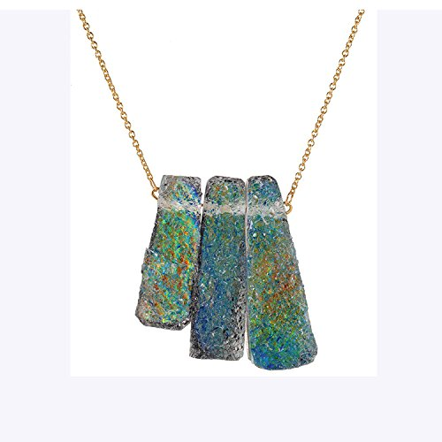 Real Spark Primitive Style Triple Mystic Stones Opera Statement Chunky Necklace